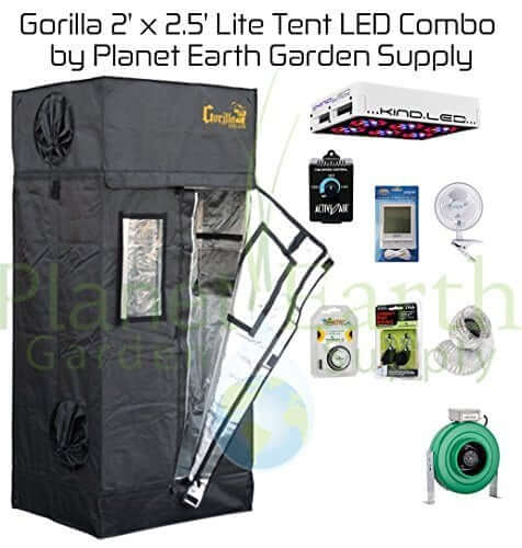 Gorilla Grow Tent LITE (2' x 2.5') LED Combo Package #2 - perfect small grow tent kit for beginners