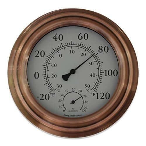 "8"" Copper Finish Decorative Indoor / Outdoor Thermometer by Bjerg Instruments"