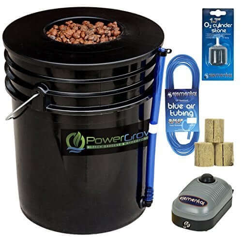 Deep Water Culture (DWC) Hydroponic Bucket Kit 5 Gallon, 6 inch for indoor cannabis growing