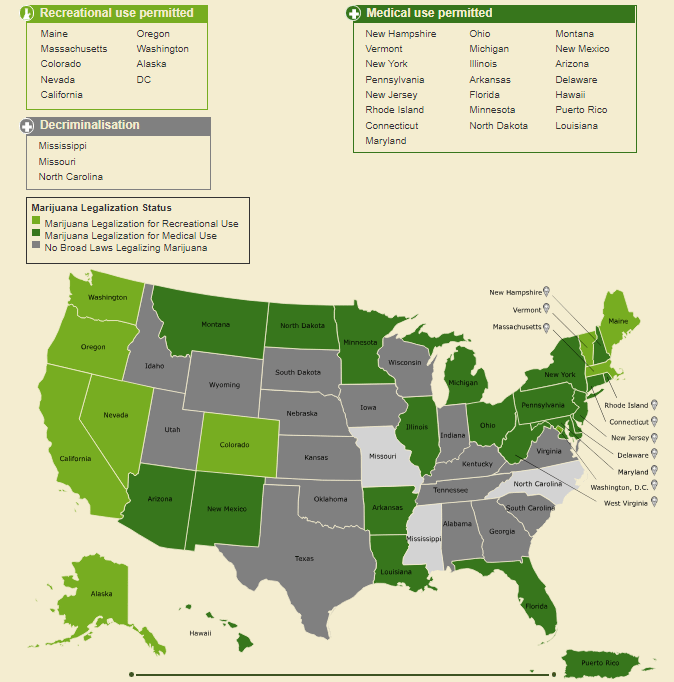 Legality of cannabis in America - map
