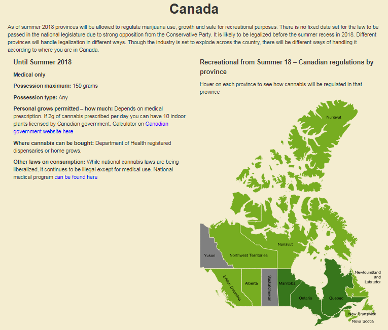 weed legality in canada - map