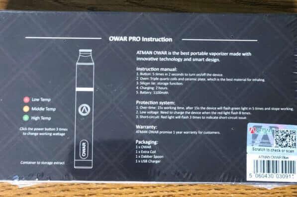 Atman OWAR PRO operating instructions